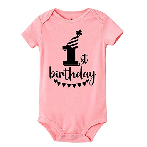 Mornyray T-Shirts d'été en Coton pour bébé 1er Anniversaire (Color : SRPPK, Size : 9M)