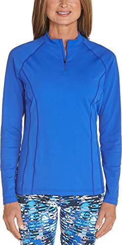 Coolibar UPF 50+ Women's Freestyle Long Sleeve Rash Guard - Sun Protective (Large- Baja Blue)