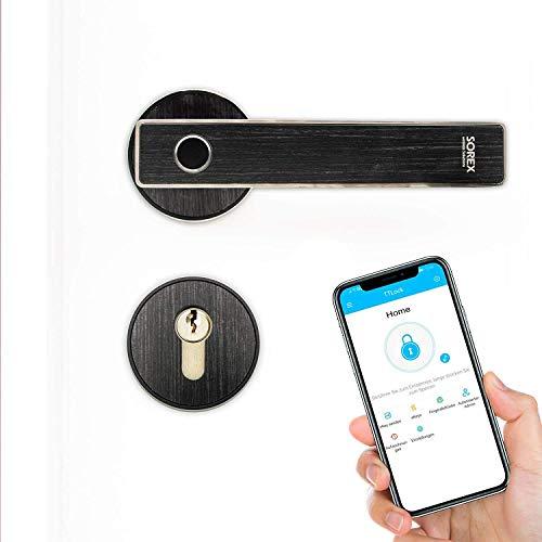SOREX Bluetooth Türgriff mit Fingerprint elektronische Türgarnitur Fingerscanner