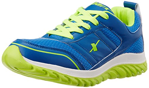 Sparx Men's SX0502G Blue and Fluorescent Green Running Shoes - 8 UK/India(SM-502)