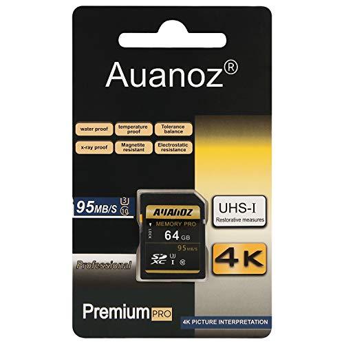 Auanoz TF-Speicherkarte 64GB, Ultra Klasse 10 High Speed Speicherkarte Geeignet für Kameras und CamcorderU3, Bis zu 95 MB/s, Klasse 10.(Schwarz/Gold-64gb)