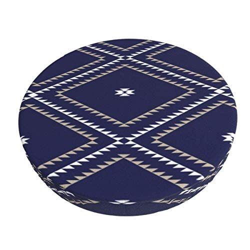 Round Bar Stools Cover,Navajo Muster Tan White Navy,Stretch Chair Seat Bar Stool Cover Seat Cushion Slipcovers Chair Cushion Cover Round Lift Chair Stool