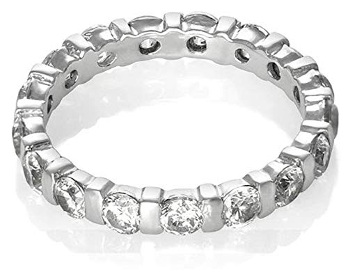 3MM Womens Full Eternity Diamond Cubic Zirconia (CZ) Sterling Silver Band Ring for Women - 925 Sterling Silver - Anniversary Engagement Wedding Ring - Size M