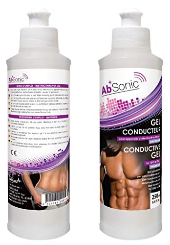 Absonic - Conductive Gel for Electrodes, Abs Stimulators, TENS, EMS, NuFace & Cavitation Devices - 2 x 250 ml (2 x 8.5 oz) - Paraben-Free