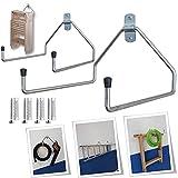 Parpyon® 2 ganci muro ganci per garage porta attrezzi da parete porta attrezzi da giardino in Acciaio Zincato supporti ganci da muro vari modelli (Doppio L)