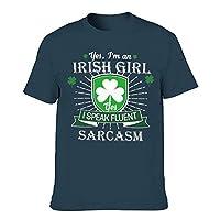 メンズ Tシャツ 半袖 Irish Girls Yes I Speak Fluent Sarcasm Print Tribal Sports Shirt,Navy,6XL