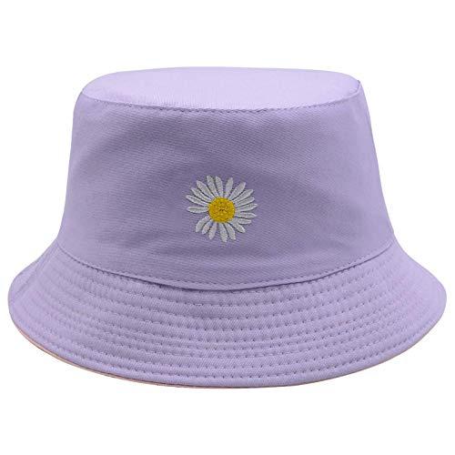 As Seen on TV Flower Reversible Bucket Hat Fishing Summer Travel Beach Sun Hat Emboridery Vistor Cap (Pink/Purple)…
