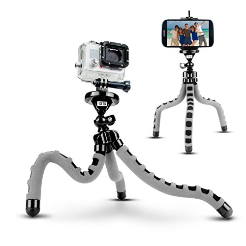 USA Gear Action Cam Flexible Tripod Mount Stand with Bendable Wrapping Legs - Compatible with Garmin VIRB Ultra 30, Vivitar, REMALI 4K Ultra HD Sports Action Camera & More