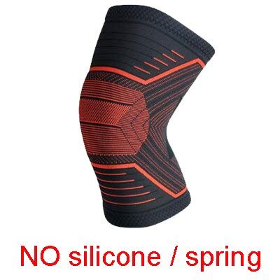 1PCS Sports Running 3D Braided Spring Silicone Pad Protects Compressed Knee Pads - HX049 Orange,L