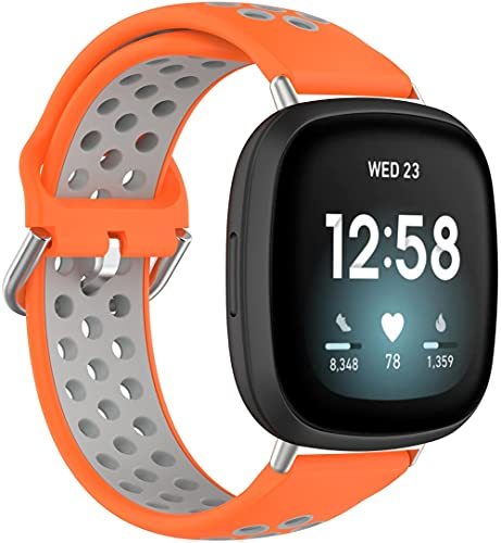 Gransho Compatible with Fitbit Versa 3 / Fitbit Sense Watch Strap, Premium Soft Silicone Watch Band Replacement Wristbands (Pattern 3)