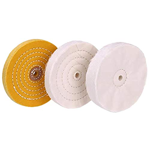YRO 3-Piece 6-Inch Mirror Polishing Wheel Set Cotton Wheel for Bench...