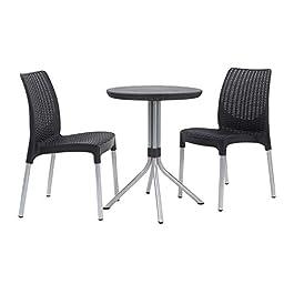 Keter Jersey–Table et chaises de Jardin en rotin, 4Places Set 2 Places 2 Places Gris