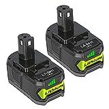 2pc JYJZPB Batería de Repuesto de Ion de Litio de 18V 5,5Ah para Ryobi One + RB18L40 RB18L25 RB18L15 P108 P107 P105 P104 P103 P102