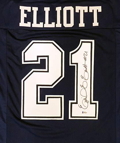 Dallas Cowboys Ezekiel Elliott Autographed Blue Jersey Beckett BAS Stock #145328