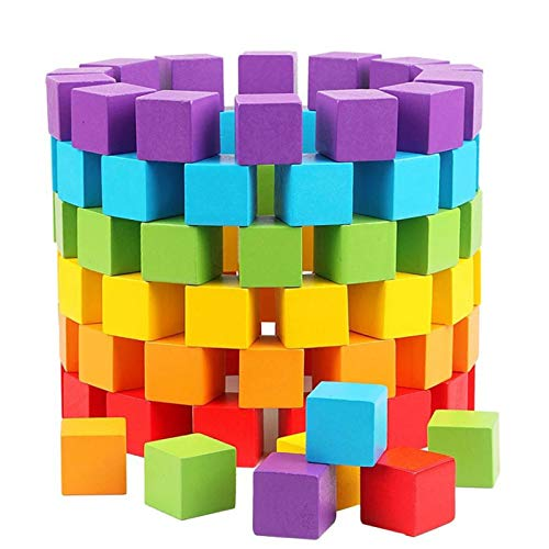 Bloques de Construcción para Niños 100pcs niños Juguete Cubos de Madera Bloques de construcción bebé Color Educativo y Forma geométrica Colorida Madera Cuadrados Juguetes