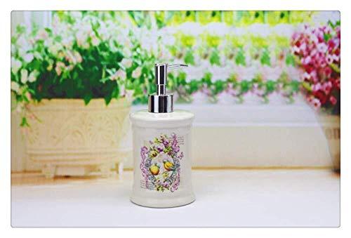 Pgs Vloeibare zeep Container, Oriental handgemaakte bloem schilderijen Vogels Shampoo Hand Sanitizer fles, Original Refillable Eco Resin Wit Keramiek zeepdispenser, 500ml