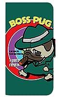 [シンプルスマホ5 A001SH] スマホケース 手帳型 ケース デザイン手帳 シンプルスマホ5 8320-B. BossPug02グリーン かわいい 可愛い 人気 柄 ケータイケース ヌヌコ 谷口亮