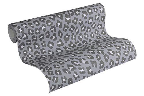 Michalsky Living Vliestapete Dream Again Tapete im Leoparden Look 10,05 m x 0,53 m grau schwarz metallic Made in Germany 365033 36503-3