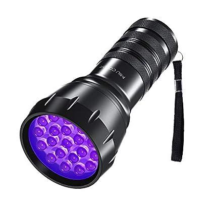 MIU COLOR Black Light UV Flashlight, 21 LEDs 395nm UV Blacklight, Dogs Urine Detector, Handheld UV Flashlight for Dry Stains and Scorpion Hunting 1
