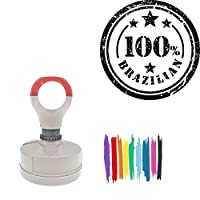 100% Brazilian Round Badge Style Pre-Inked Stamp, Red Ink Included