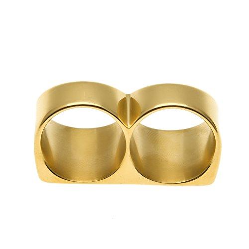 Persönlichkeit Zwei-Finger-Ring Hip Hop Ringe Herren Vergoldeter Ring Gold/Silber,Gold,10