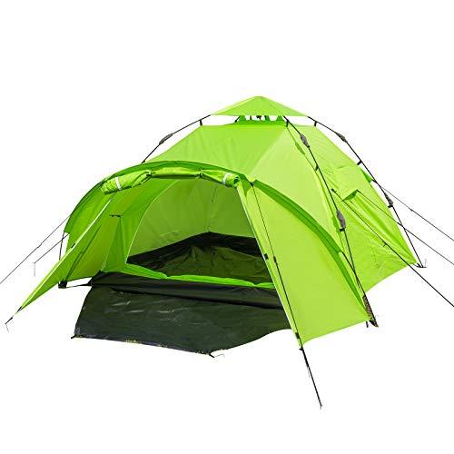 EUGAD Camping Zelt 3-4 Personen Sekundenzelt Schnellaufbau mit Quick-Up-System Kuppelzelte wasserfest Familienzelt mit Tragetasche 300x220x150cm Grün