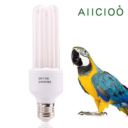 AIICIOO 20W UVB Lampe für Vögel 2.4% UVB Ausgang Vollspektrum Kompaktlampe für Ziervögel natürliche Farben E27