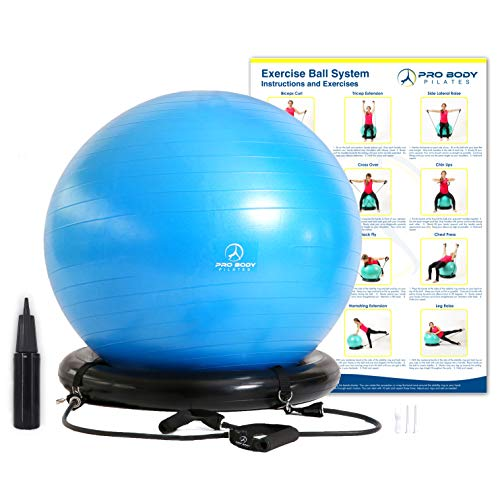 Exercise Ball Chair System - Yoga and Pilates 65 cm Ball with Stability Base and Workout Resistance Bands for Gym, Home, or Office (Blue, 65 cm)