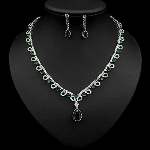 yuge Conjunto de joyería de boda de moda para mujer, collar de gota de agua de plata 925, pendientes de collar, joyería de fiesta, regalo verde