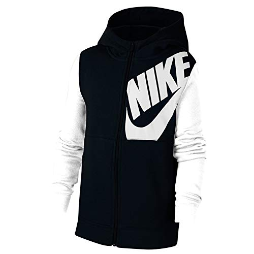 Nike B NSW HOODIE FZ KIDS PACK, Felpa Bambino, black/White/Black heather/(white), L