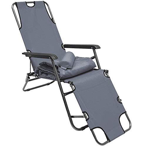 AMANKA Liegestuhl klappbar 180x60cm - leichte Klappliege bis 100 kg Relaxstuhl Gartenstuhl Campingstuhl