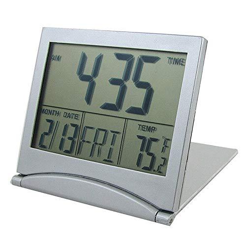 WWWL Reloj despertador plegable con batería para escritorio, calendario, temperatura digital, color plateado