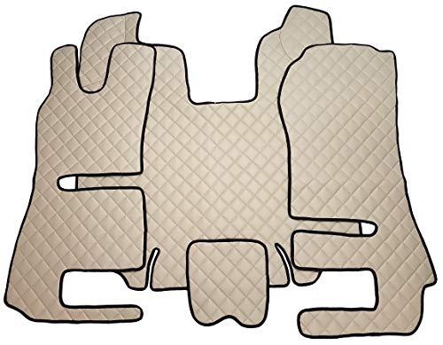 Unbekannt Fußmatten und Motorabdeckung für Truck R 2014+ LKW Zubehör AUTOMATIKGETRIEBE Umweltfreundlichem Kunstleder Beige