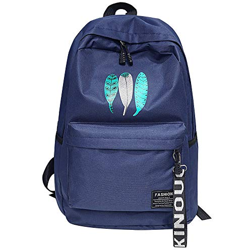 Men men's fashion canvas backpack laptop backpack Ms.men and women through a large capacity bag mochilafeminina-dark blue_the United States