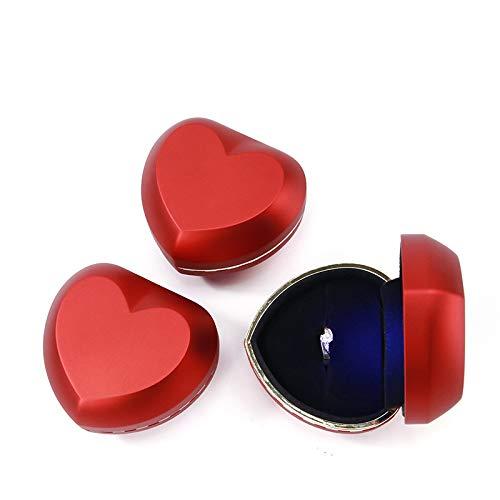 Unbekannt Roter Kreativer Herz-Förmiger Ringkasten-Halskettenkasten-Schmucksachekasten Führte Leuchtkasten 8 * 7 * 5.2Cm