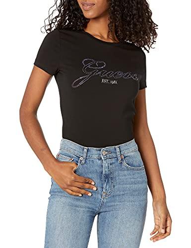 Guess Raissa - Camiseta de mujer con cuello redondo y logotipo de strass negro E22GU07 W1YI85J1311 Negro Talla...