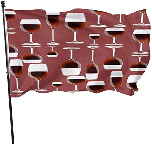 Jacklee Rode Wijnglas Tuinvlaggen Duurzame Fade Resistant Decoratieve Vlaggen Premium Kwaliteit Officiële Vlag met Grommets Polyester Deluxe Outdoor Banner voor Alle Seizoenen & Vakanties - 3X 5 Ft