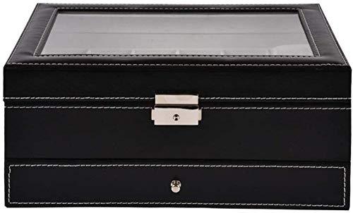 Caja de reloj 2 capas 12 ranuras Relojes Pantalla Caja de almacenamiento con tapa de vidrio con cerradura con cajón de joyería Colección de organizador de relojes de piel sintética negra