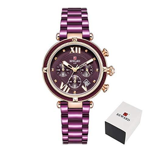 PULLEY -S - Reloj de pulsera para mujer, impermeable, informal, de cuarzo, para mujer, vestido de mujer, relojes de pulsera S (color: caja púrpura)
