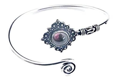 mantraroma Armreif Armband versilbert silbern Granat rot (922-05-022-02)