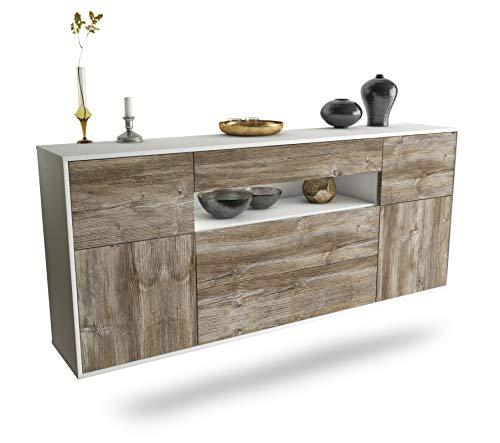 Dekati Sideboard Elizabeth hängend (180x77x35cm) Korpus Weiss matt | Front Holz-Design Treibholz | Push-to-Open | Leichtlaufschienen