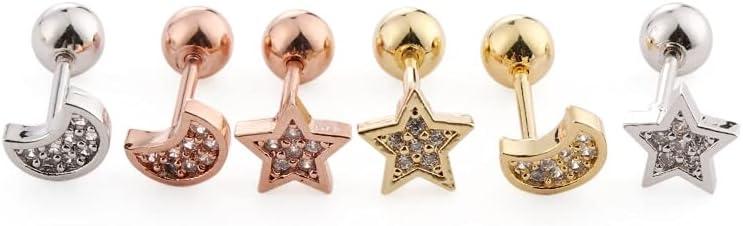 CUTIHO Ear Piercing Lip Body Cartilage Crystal Star Moon Bar Earrings Surgical Steel Ear Studs Piercing Jewelry- 21292895