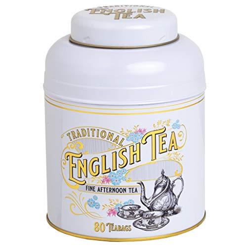 Boîte à thé victorienne vintage en ivoire avec 80 sachets de thé anglais de l'après-midi