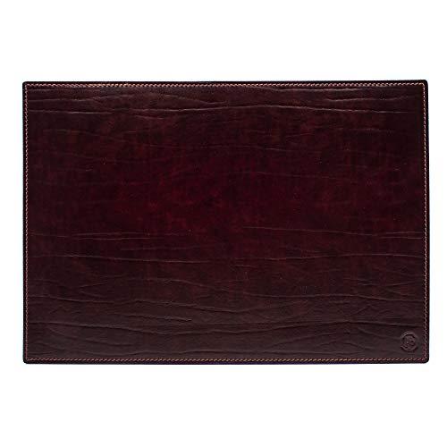 Dante (Bordò) - Vade para escritorio de oficina y alfombrilla para ordenador portátil, de piel artesanal - 90 x 60 cm - Fabricado en Italia