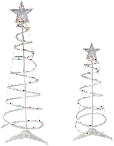 Set of 2 Pre Lit Spiral Christmas Trees with Star Tree Topper 4 and 6 Multi Color Lights product image
