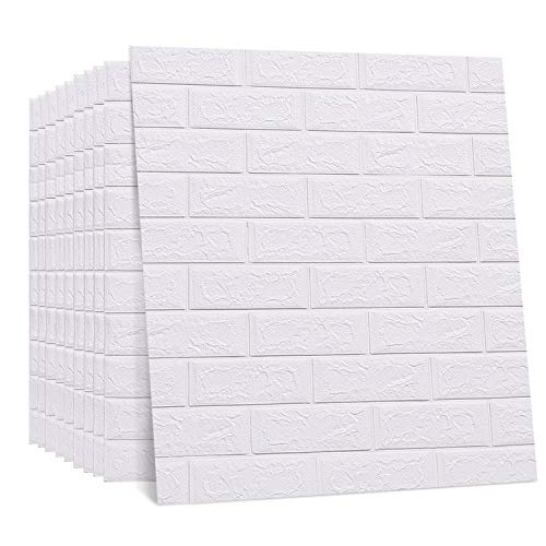 Regetek 3D Wall Panels Self-Adhesive Decorative Faux Foam Wallpaper for Interior TV Walls/Sofa Background Wall Decor DIY Peel and Stick Easy Installation (White Brick Wallpaper-10 Pack 58.13 sq.ft)