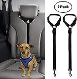 2 Pack Doggy Car Headrest Restraint - Dog Cat Safety Seat Belt Strap - Adjustable Nylon Fabric Harness for Dog...