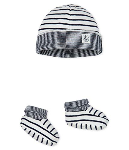 Petit Bateau Baby-Jungen Bonnet + Chaussons_5043100 Bekleidungsset, Mehrfarbig (Variante 1 00), 80 (Herstellergröße: 12M/74cm)