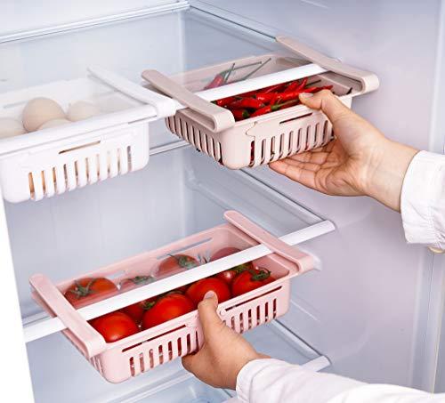 HapiLeap kühlschrank Schubladen, Einstellbare Lagerregal Kühlschrank Partition Layer Organizer, Ausziehbare Kühlschrank Schublade Organizer Kühlschrank Aufbewahrungsbox (3 Stück)