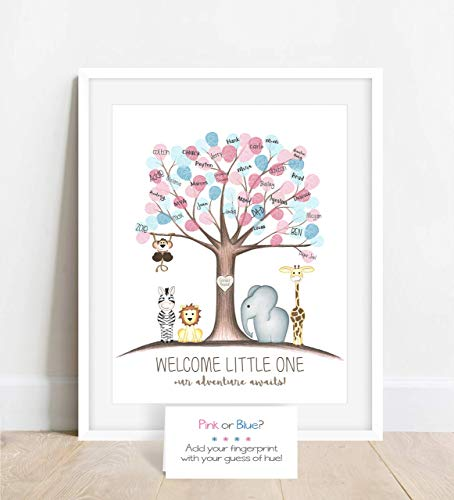 Gender Reveal Fingerprint Tree with Jungle Safari Animals, Thumbprint Tree Baby Reveal Activity
